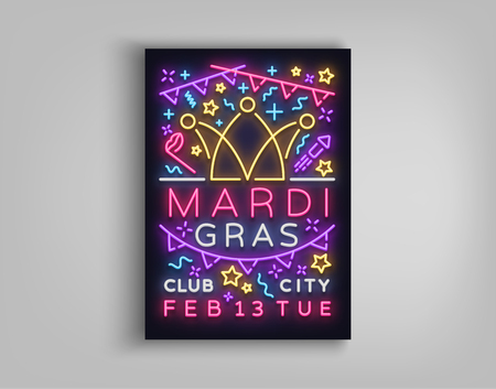 Mardi Gras invitation template design. Neon-style poster, neon sign, bright brochure, luminous banner, night flyer, invitation leaflet on Fat Tuesday. Carnival, Masquerade. Vector illustration. Illustration