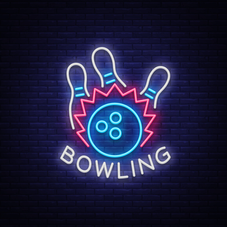 Bowling logo vector. Neon sign, symbol, bright banner advertising bright night bowling, luminous neon billboard. Design a template for the Bowling Club logo. Vector illustration.