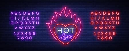 バレンタインデーのための熱い愛のシンボル。ネオンサイン、明るいバナー、夜のホワイトボード。バレンタインデーの広告、招待状、挨拶のため