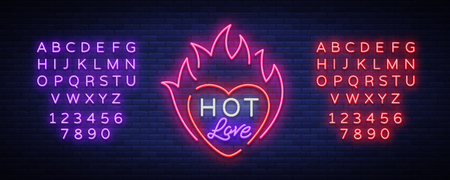 Hot love symbol for Valentine s day. Neon sign, bright banner, night whiteboard. Advertising for Valentine s Day, design template for invitations, greetings. Vector. Editing text neon sign Ilustração