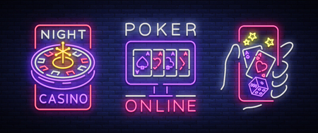 Casino is a set of neon signs. Logo collection in neon style, luminous banner, bright neon advertising online poker, gambling, casino for your projects. Play money online. Vector illustration. Illustration
