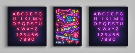 Carnival party poster in neon style. Neon sign, design template, brochure, night light poster. Bright neon advertising for carnival, masquerade, party. Vector illustration. Editing text neon sign