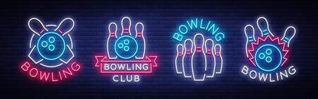 ボウリングはネオンサインのコレクションです。エンブレムシンボル、ネオンロゴ、ライト広告バナー、ナイトライティングビルボード、ボウリン