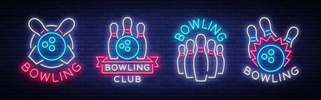 Bowling is collection of neon signs. Collection of Emblem Symbols, Neon Logo, Light Advertising Banner, Night Lighting Billboard, Design Pattern for the Bowling Club, Tournaments. Vector illustration