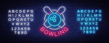 Bowlen is een lichtreclame. Symbool embleem, neon stijl logo, lichtgevende reclamebanner, helder reclamebord, ontwerpsjabloon voor de Bowling Club, toernooien. Vector illustratie Tekst neonreclame bewerken.