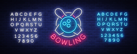 Bowling is a neon sign. Symbol emblem, Neon style logo, Luminous advertising banner, bright billboard, Design template for the Bowling Club, Tournaments. Vector illustration. Editing text neon sign. Illustration