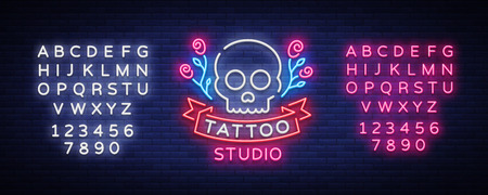 Tattoo salon signage vector. Neon sign, symbol of a skull with roses, bright luminous billboard, neon bright advertising on a theme of tattoo, for tattoo of salon, studio. Editing text neon sign.
