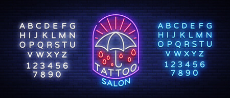 Tattoo salon logo in a neon style. Neon sign, emblem, umbrella symbol, light billboards, neon bright advertising on tattoo theme, for tattoo salon, studio. Vector illustration. Editing text neon sign Illustration