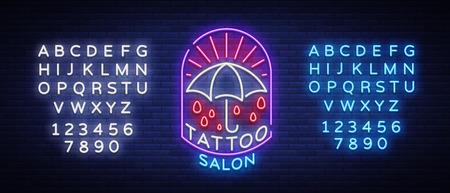 Tattoo salon logo in a neon style. Neon sign, emblem, umbrella symbol, light billboards, neon bright advertising on tattoo theme, for tattoo salon, studio. Vector illustration. Editing text neon sign Ilustração