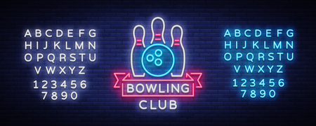 Bowling is a neon sign. Symbol emblem, Neon style icon, Luminous advertising banner, bright billboard, Design template for the Bowling Club, Tournaments. Vector illustration. Editing text neon sign.
