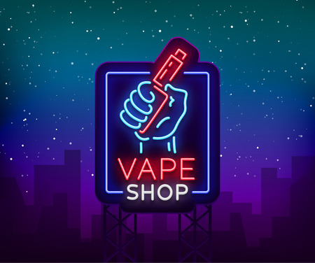 Vape shop neon sign, billboard vector illustration. Neon sign, a night glowing banner selling electronic cigarettes, night advertising vape store. Иллюстрация