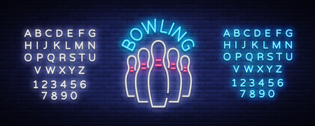 Bowling logo vector. Neon sign, symbol, bright banner advertising bright night bowling, luminous neon billboard. Design template for the Bowling Club logo. Vector illustration. Editing text neon sign.