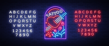Tattoo studio logo in a neon style. Neon sign, emblem, a symbol of mans heart is pierced by the sword, neon on a tattoo for tattoo salon, studio. Vector illustration. Editing text neon sign Çizim