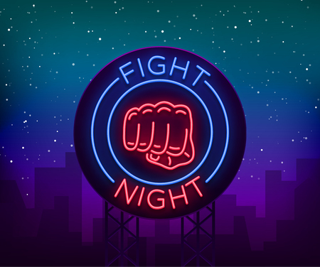 Fight neon sign, light night billboard, isolated vector illustration Neon banner, night-threatening promotional emblem. Illustration