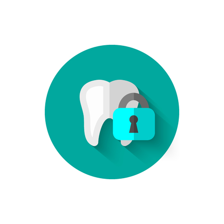 Tooth icon isolated in flat design style vector illustration. Modern, minimalist icon on the theme of stomatology in stylish colors. Website and design for mobile apps and other projects of yours