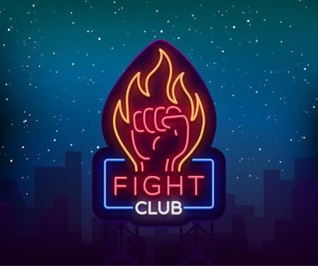 Fight neon sign, light night billboard, isolated vector illustration Neon banner, night-threatening promotional emblem. Illusztráció