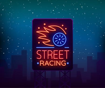 ネオンスタイルのストリートレーシング看板ロゴエンブレムテンプレートベクトルアイコン。レースをテーマに輝くサイン。ネオンサイン、ライト  イラスト・ベクター素材