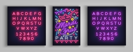 Mardi Gras invitation template design. Neon-style poster, neon sign, brochure, banner, flyer invitation leaflet on Fat Tuesday. Carnival masquerade vector illustration editing text neon sign.