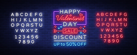 Valentines Day sale vector design template poster in neon style. Neon sign, neon banner with discounts, bright night advertising, brochure postcard. Vector illustration. Editing text neon sign. Ilustração