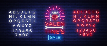 Valentines Day sale vector design template poster in neon style. Neon sign, neon banner with discounts, bright night advertising, brochure, flyer postcard. Vector illustration. Editing text neon sign. Illustration