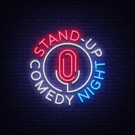 Stand Up Comedy Neonreclame tonen. Neon symbool, heldere lichtgevende banner, neon-stijl poster, heldere nachtelijke advertentie. Sta op show. Uitnodiging voor de Comedy Show.