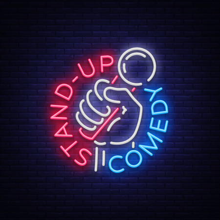 Comedy Show Stand Up invitation is a neon sign. 向量圖像