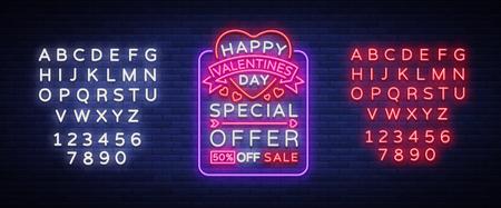 발렌타인 데이는 제안서, 네온 스타일의 배너 템플릿입니다. 네온 사인, 상점을위한 포스터 디자인, 밝은 배너, 빛나는 네온 광고, 전단지, 엽서, 브로 일러스트