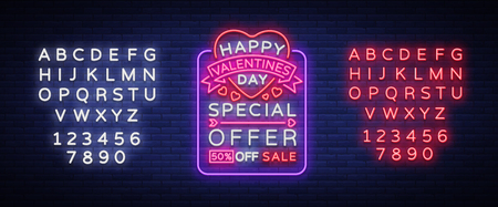 Valentines Day is a proposal, a neon style banner template. Neon Sign, Poster Design for a Store, Bright Banner, Luminous Neon Advertising, Flyer, Postcard, Brochure. Vector. Editing text neon sign Çizim