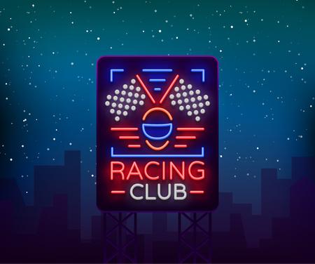 Corrida esportes outdoor neon logotipo emblema padrão. Um sinal brilhante sobre o tema das corridas. Sinal de néon, banner luz. Ilustração vetorial