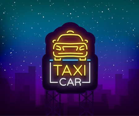 Taxi car design neon glowing logos concept template. Luminous signboard on the theme of transportation of passengers. Neon signs, light night banner. Vector illustration. Stock Vector - 94655272