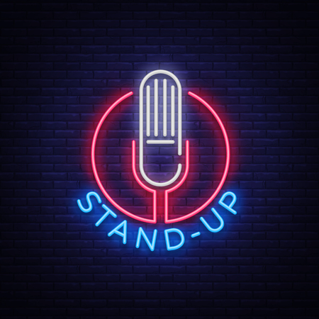 Stand Up Logo in Neon Style. Comedy show is neon sign, symbol, an invitation to a comedy performance, bright banner, neon poster, nightlit advertising for your projects. Vector illustration