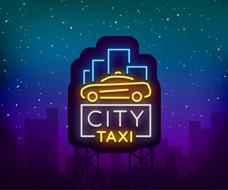 City taxi neon logos concept template. Luminous signboard on the theme of transportation of passengers. Neon signs, light night banner. Vector illustration.