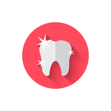 Tooth icon isolated in flat design style vector illustration. Modern, minimalist icon on the theme of stomatology in stylish colors. Website and design for mobile apps and other projects.
