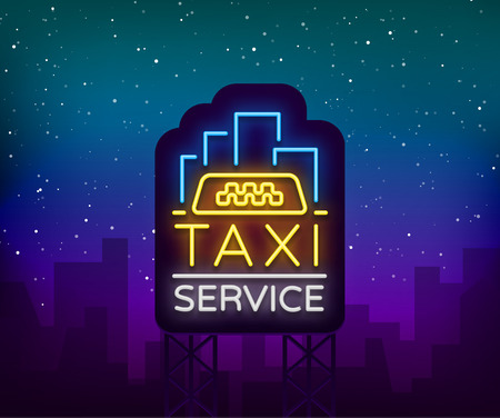 Neon Taxi logo isolated on a brick background. Silhouette badge glowing taxi. Design advertising night sign of the taxi brand.