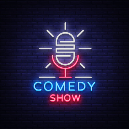 Comedy Show Stand Up invitation is a neon sign. Emblem Bright flyer, light poster, neon banner, brilliant night commercials advertisement, card, postcard.