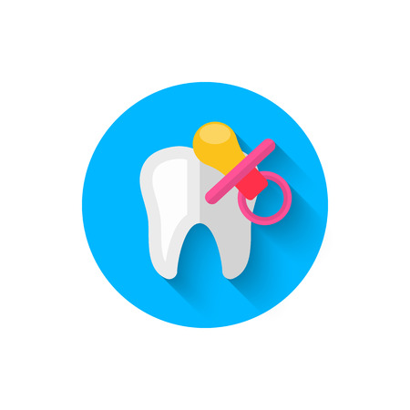 Childrens dentistry icon, illustrated in a flat style design of vector illustration. Modern icon of dentistry. Website and design for mobile applications and other your projects