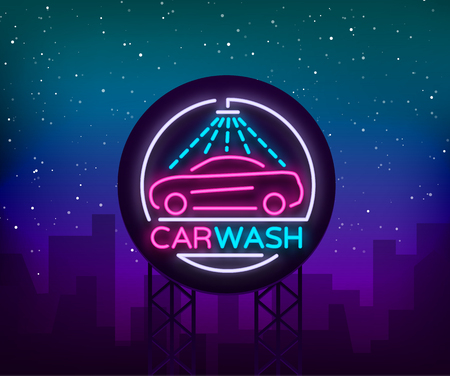 Car wash logo design emblem in neon style illustration. Template, concept, luminous sign on the theme of washing cars. Advertising Billboard.