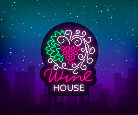 Het ornamentornament van het wijnhuispatroon met in een trendy neonstijl. Logo, badge gloeiende banner. Voor het menu, bar, restaurant, wijnkaart, wijnhuis, wijnetiket, wijngaard, wijnmakerij. Vector illustratie. Stockfoto - 94974617