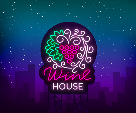 Wine house pattern ornament frame with in a trendy neon style. Logo, badge glowing banner. For the menu, bar, restaurant, wine list, wine house, wine label, vineyard, winery. Vector illustration.