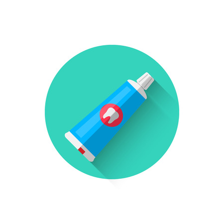 A toothpaste icon, illustrated in a flat style design of vector illustration. Modern icon of dentistry.