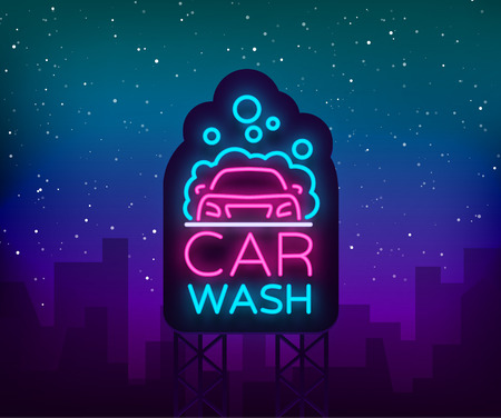 Car wash logo vector design in neon style vector illustration isolated. Template, concept, luminous signboard icon on a car wash theme. Luminous banner