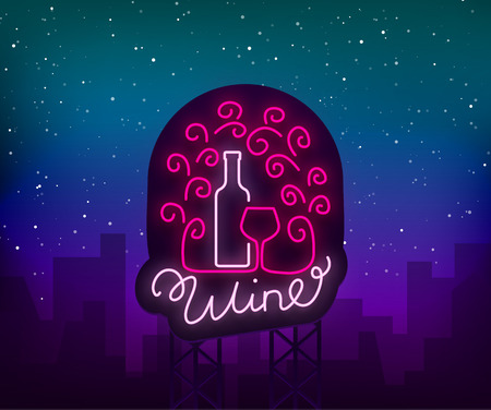 Template logo wine bar in a trendy neon style. Logo, badge glowing banner. For the menu bar, restaurant, wine house, wine label, vineyard, winery. Vector illustration