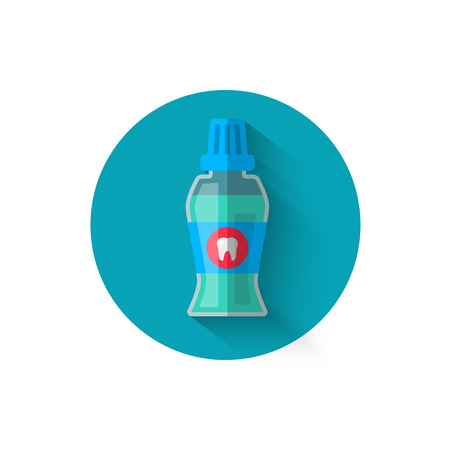 Mouthwash icon, illustrated in a flat style design of vector illustration. Modern icon on dentistry in stylish colors. Website and design for mobile applications and other your projects
