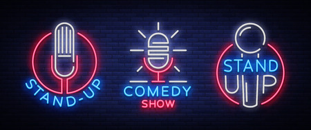Comedy Show Stand Up An invitation collection of neon signs. Icon set, Emblem Bright flyer, light poster, neon banner, bright night commercials advertisement, card, postcard. Vector illustration Vettoriali