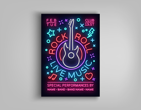 Rock n roll live music. Typography, Poster in neon style, Neon sign, Brochure, Flyer Design template for rock festival, concert, party, live music. Music Rock and Roll. Vector illustration