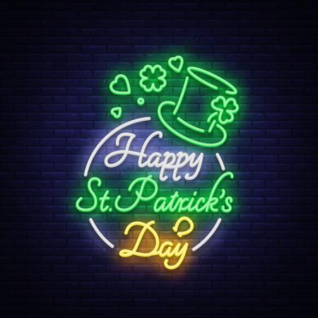 Glückliche St Patrick Tagesvektor-Illustration in der Neonart. Leuchtreklame, Grußkarte, Postkarte, Neonfahne, helle Nachtwerbung, Flieger. Eine Einladung zum St. Patricks Day. Vektorgrafik
