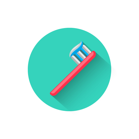 Toothbrush icon, illustrated in flat design style vector illustration. Modern icon of dentistry. Website and design for mobile applications and other your projects