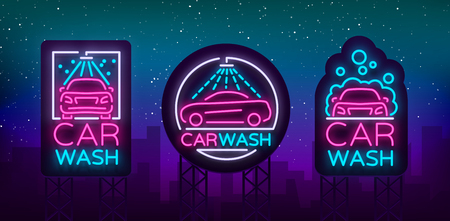 Car wash logo set vector design in neon style vector illustration isolated. Template, concept, luminous signboard icon on a car wash theme. Luminous banner Ilustrace
