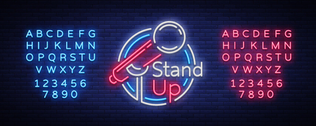 Stand Up Comedy Show is a neon sign. Neon logo, bright luminous banner, neon poster, bright night-time advertisement. Stand up show. Invitation to the Comedy Show. Vector. Editing text neon sign 일러스트
