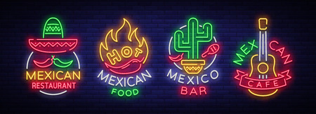 Mexican food is a collection of neon signs. Bright glow sign, neon banner, luminous logo, symbol, nightly advertisement of Mexican food. Design template for restaurant, bar, cafe. Vector illustration 스톡 콘텐츠 - 95157533